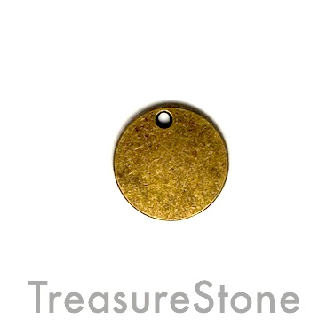 Charm/pendant, brass-plated, 16mm disk. Pkg of 10.