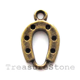 Pendant/charm, brass-finished,12x15mm horseshoe. Pkg of 14.