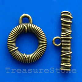 Clasp, toggle, antiqued brass-finished,16/23mm. Pkg of 5.