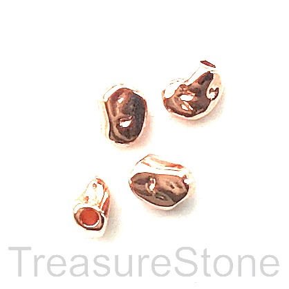 Bead, rose gold finished, 5x7x4mm nugget. Pkg of 15