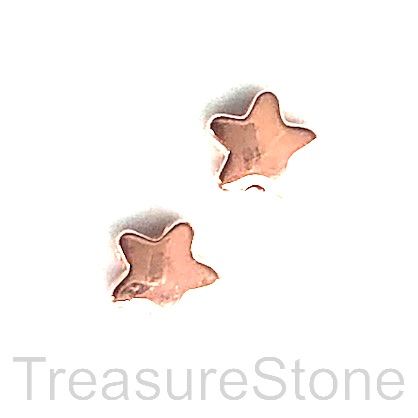 Bead, rose gold finished, 7mm star. Pkg of 15
