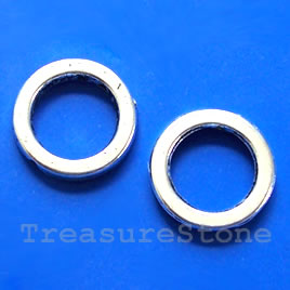 Bead, silver-finished, 18mm circle. Pkg of 6.