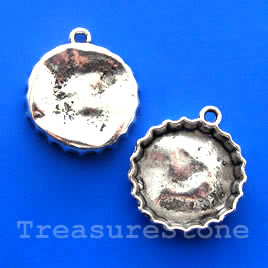 Pendant/charm, silver-finished, 26mm bottle cap. Pkg of 3.