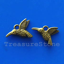Pendant/charm, brass-finished, 14x16mm bird. Pkg of 12.