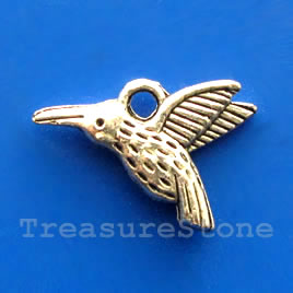 Pendant/charm, silver-finished, 14x16mm bird. Pkg of 12.