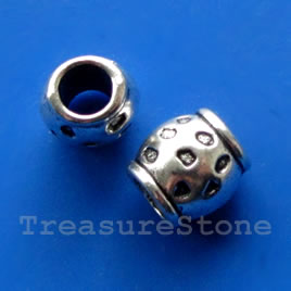Bead, silver-finished, 9mm tube, large hole, 4.5mm. Pkg of 10.
