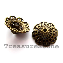 Bead cap, antiqued brass finished, 8x14mm. Pkg of 6.