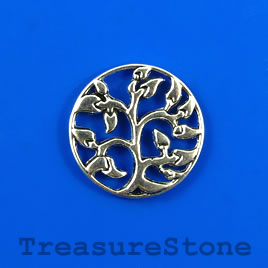 Charm/pendant, silver-plated, 23mm Tree of Life. Pkg of 4.