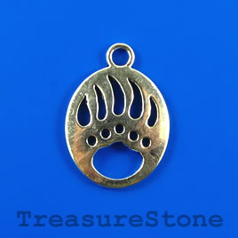 Charm/pendant, silver-plated, 22x26mm bear paw. Pkg of 4.