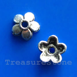 Bead cap, antiqued silver-finished, 7x2mm. Pkg of 28.
