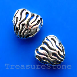 Bead, silver-finished, 15x8mm filigree puffed heart. Pkg of 3.