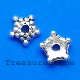 Bead cap, antiqued silver-finished, 5mm. pkg of 30