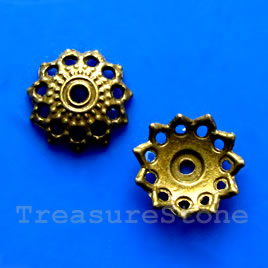 Bead cap, antiqued brass finished, 3x11mm. Pkg of 16.