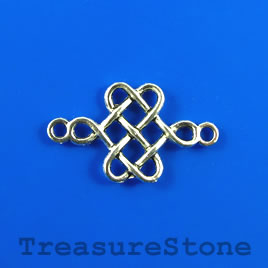 Pendant/ connector/link, silver colored, 18x24mm knot. Pkg of 8.