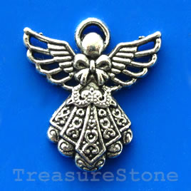 Pendant/charm, silver-finished, 24mm angel. Pkg of 5.