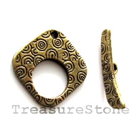 Clasp, toggle, antiqued brass-finished, 23/25mm. Pkg of 4.