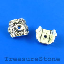 Bead, silver-finished, 9x10mm. Pkg of 20.