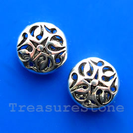Bead, antiqued silver-finished, 17x7mm filigree. Pkg of 3.