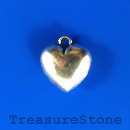 Charm/pendant, silver-plated, 17x18mm heart. Pkg of 5.