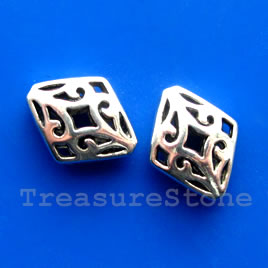 Bead, antiqued silver-finished,14x17mm filigree diamond.Pkg of 4
