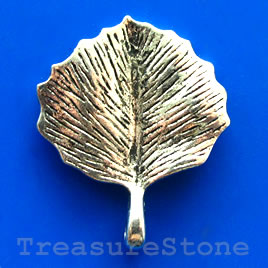 Pendant/charm, silver-finished, 26x29mm leaf. Pkg of 3.