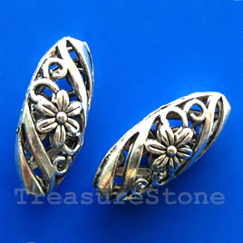 Bead, silver-finished, 9x23mm filigree puffed oval. Pkg of 3.