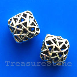 Bead, silver-finished, 16x7mm filigree puffed square. Pkg of 3.