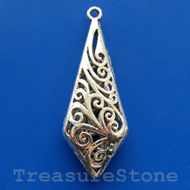 Pendant/charm, silver-finished, 20x49mm filigree. Each.