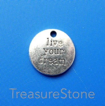 "Charm/ Pendant, 20mm ""live your dream"". Pkg of 5."