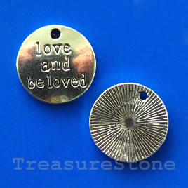 Pendant, 19mm Love and Beloved. Pkg of 5.