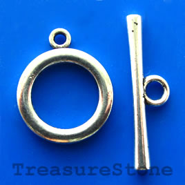 Clasp, toggle, antiqued silver-finished, 21/34mm. Pkg of 3.