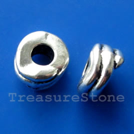 Bead, silver-finished, 12x7mm, 5mm hole. Pkg of 4.