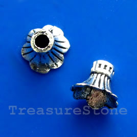 Cone, antiqued silver-finished, 9x12mm. Pkg of 8.