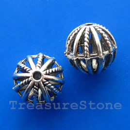 Bead, silver-finished, 18mm filigree round. Pkg of 3.