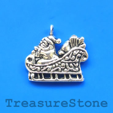 Charm/pendant, Santa Claus with sleigh, 17x23mm. Pkg of 8.