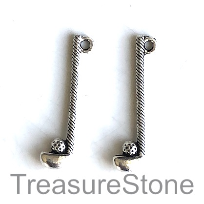 Charm, silver-finished, 32mm Golf Club and Ball. Pkg of 10