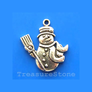 Pendant/charm, 25mm snowman. Pkg of 5.