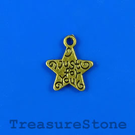 "Charm, silver-finished, 12mm ""Just for you"" star. Pkg of 15."