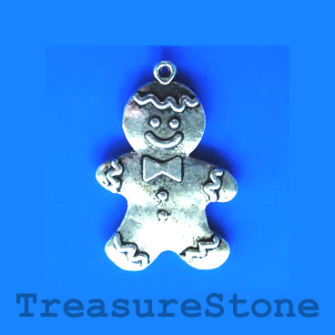 Pendant/charm, 27x38mm gingerbread man. Pkg of 3.