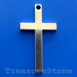 Pendant/charm, silver-finished, 28x52mm cross. Pkg of 2.