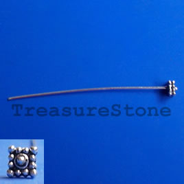 Headpin, plated pewter, 2 inches with 5mm head. Pkg of 19