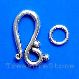 Clasp, hook-and-eye, silver-finished, 20x10mm. Pkg of 12.