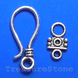 Clasp, hook-and-eye, silver-finished, 24x10mm. Pkg of 12.