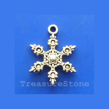 Pendant/charm,silver-finished, 17mm snowflake. Pkg of 8.