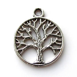 Pendant/charm, silver-finished, 20mm Tree of Life. Pkg of 6.