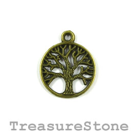Charm/pendant, brass-plated, 20mm Tree of Life. Pkg of 6.