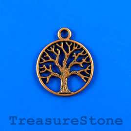 Charm/pendant, copper-plated, 20mm Tree of Life. Pkg of 6.