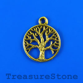Charm/pendant, gold-plated, 20mm Tree of Life. Pkg of 6.