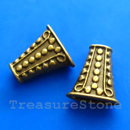 Cone, antiqued brass finished, 17x9x18mm. Pkg of 2.