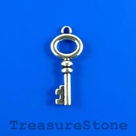 Charm/Pendant, 13x29mm silver-colored key. Pkg of 4.